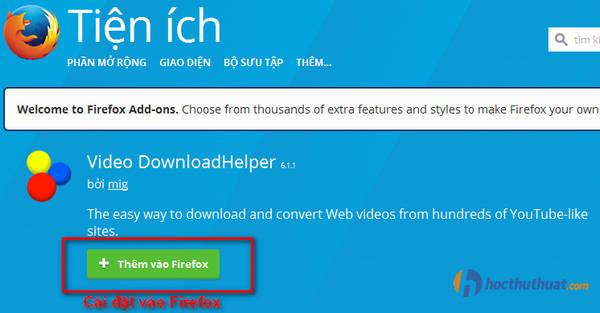 Video DownloadHelper download video từ VTV